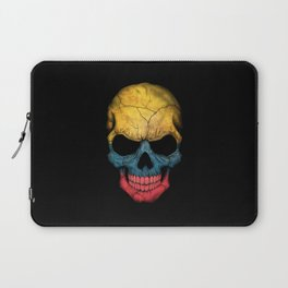 Dark Skull with Flag of Colombia Laptop Sleeve