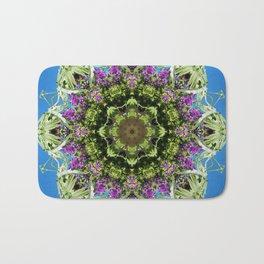 Intricate floral kaleidoscope - Vebena, Dichondra leaves with blue sky Bath Mat
