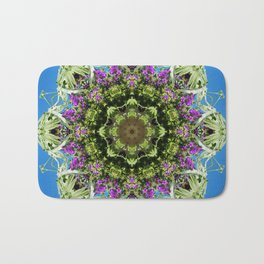 Intricate floral kaleidoscope - Vebena, Dichondra leaves with blue sky Bath Mat