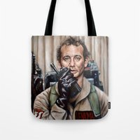 bill Tote Bags featuring Bill Murray / Ghostbusters / Peter Venkman by Heather Buchanan