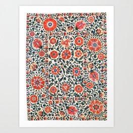 Shakhrisyabz Suzani  Uzbekistan Antique Floral Embroidery Print Art Print