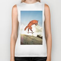 skateboard Biker Tanks featuring Skateboard FOX! by Jesse Robinson Williams