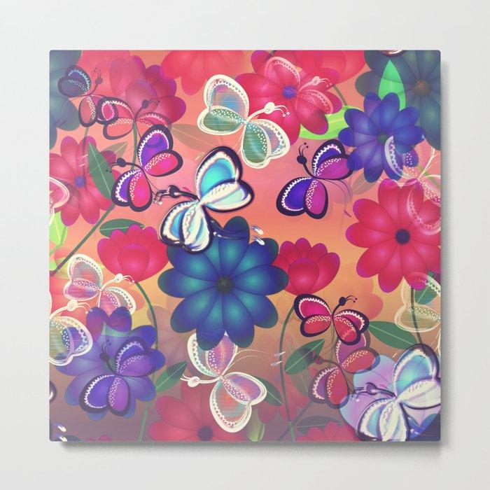 Abstract Butterflies with Flowers (Vintage Orange) Metal Print