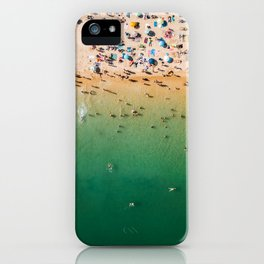 People Having Fun On Beach, Digital Download, Aerial Drone Photography, Printable Ocean Photography iPhone Case