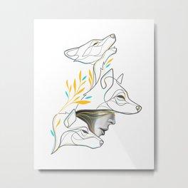Minimal Wolf Line Drawing - Wolfpack Portrait Metal Print