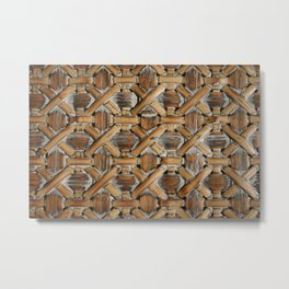 Whitewashed Wicker Metal Print