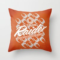 tomb raider Throw Pillows featuring RAIDER by Geekleetist