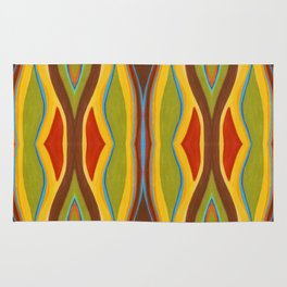 Green Brown Red with Orange and Blue Highlighting Retro Style by annmariescreations Rug