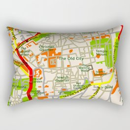 Jerusalem map design Rectangular Pillow