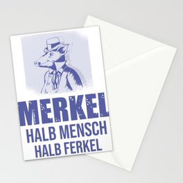 Merkel half man half piglet Politics Stationery Cards