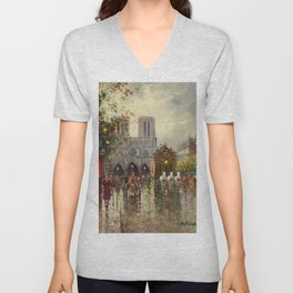Cathedral Notre-Dame, Paris at Twilight by Antoine Blanchard Unisex V-Neck