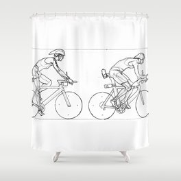 Transitions through Triathlon Cyclists Drawing A Shower Curtain