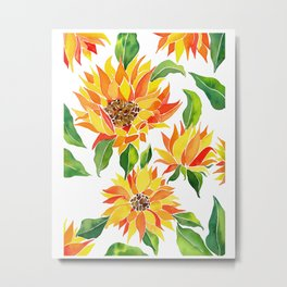 Vibrant Sunflowers - Colorful southwestern watercolor art Metal Print