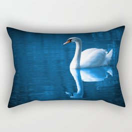 Beautiful Swan Blue Lake Rectangular Pillow