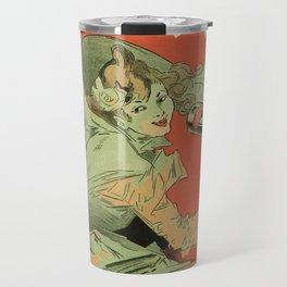 Vintage French mint liqueur ad by Chéret Travel Mug