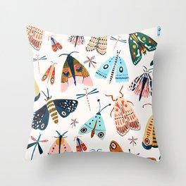 Spring Moths Throw Pillow