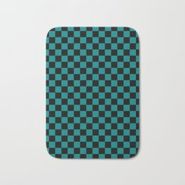 Black and Teal Green Checkerboard Bath Mat
