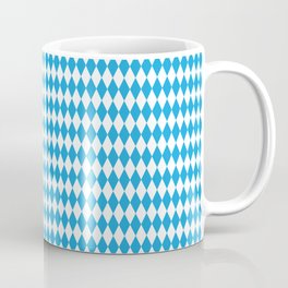 Oktoberfest Bavarian Blue and White Medium Diagonal Diamond Pattern Coffee Mug