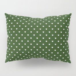 Small White Polka Dot Hearts on Dark Forest Green Pillow Sham