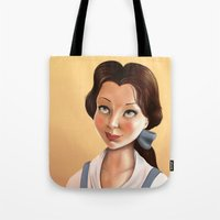 belle Tote Bags featuring Belle by Sam Pea