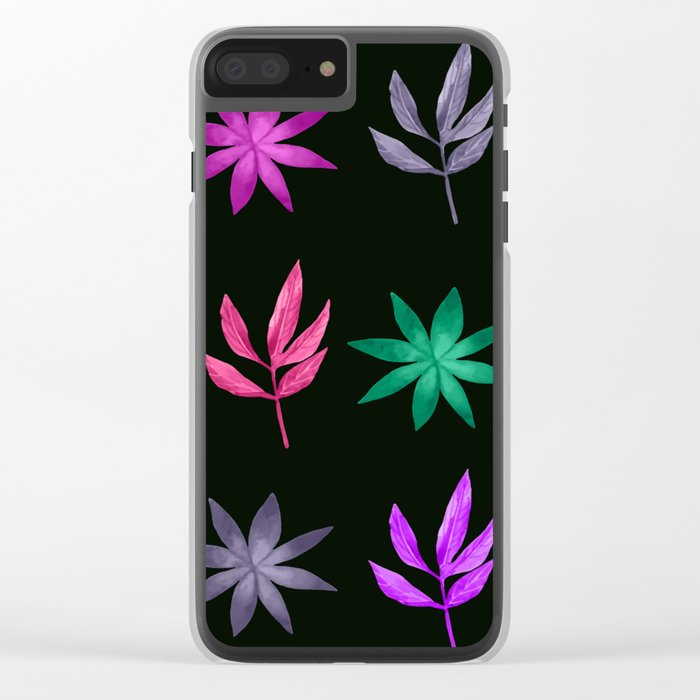 Colorful Leaves VIII Clear iPhone Case