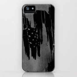 Modern black gray hand painted watercolor pattern iPhone Case