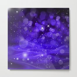 Whimsical Purple Glowing Christmas Sparkles Bokeh Festive Holiday Art Metal Print