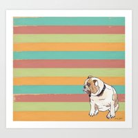 bulldog Art Prints featuring Bulldog by Tammy Kushnir