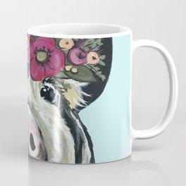 Cute Pig Art, Flower Crown Pig Art Coffee Mug