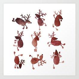 Santa's Dancing Reindeer Watercolor Art Print