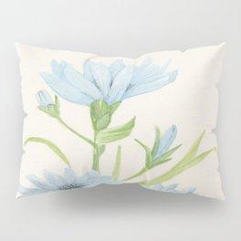 Watercolor Garden Flower Blue Cornflower Wildflower Pillow Sham