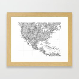 Watercolor gray map of USA and Mexico - PRINTS IN SIZES M and L only Framed Art Print