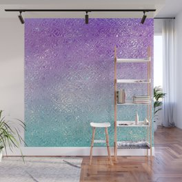 Indecent glass shiny purple to turquoise ombre Wall Mural
