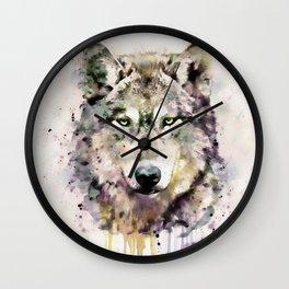 Wolf Head Watercolor Portrait Wall Clock