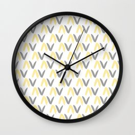 Yellow, Grey and Dark Taupe Pattern 6 Wall Clock