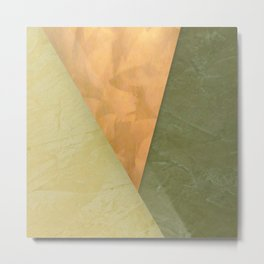Golden Triangle With Green and Cream Metal Print