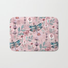 Rose Gold Dragonfly Garden | Pastel Bath Mat
