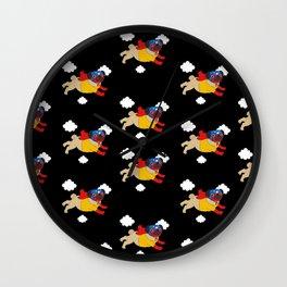 Lucha Libre Pug (Black BG) Wall Clock