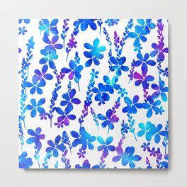 Mystic blue flowers & leaves Metal Print