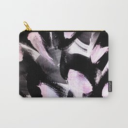 black, pink and white abstract painting Carry-All Pouch