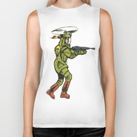 spaceship Biker Tanks featuring SPACESHIP TROOPER by Noughton
