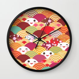 Kawaii Nature background with japanese sakura flower, wave pattern Wall Clock