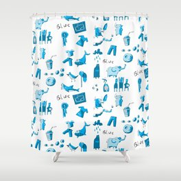 Blue Things Shower Curtain