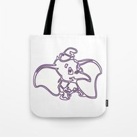 dumbo Tote Bags featuring Dumbo by Beastie Toyz