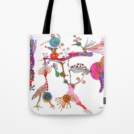 Funky Wondering Birds Tote Bag
