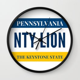 Nittany Lion License Plate Wall Clock