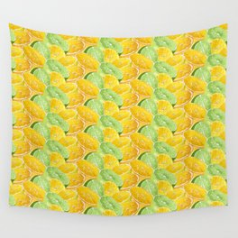 Citrus juicy slice pattern with fruit halves Wall Tapestry