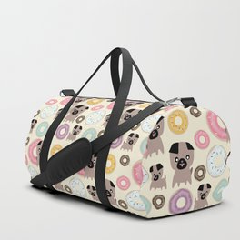 Pug and donuts beige Duffle Bag