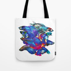 FIGHTING FISHES BETTA - Animals | Psychedelic | 70's | Abstract | Pop | Surrealism | Nature Tote Bag