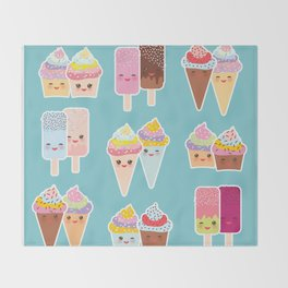 Kawaii cupcakes, ice cream in waffle cones, ice lolly Throw Blanket